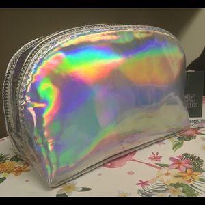 Double zipper compartments iridescent makeup bag